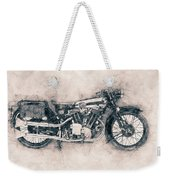 Brough Superior Ss100 - 1924 - Motorcycle Poster - Automotive Art Weekender Tote Bag