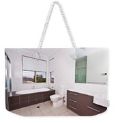 Brown And White Bathroom Weekender Tote Bag