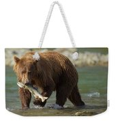 Brown Bear With Salmon Weekender Tote Bag