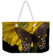 Brown Butterfly On Yellow Daisies  Weekender Tote Bag