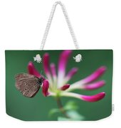 Brown Butterfly Resting On The Pink Plant Weekender Tote Bag
