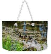 Brown Ducks On Log Weekender Tote Bag