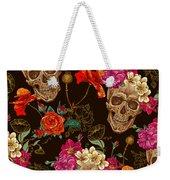 Brown Skulls And Flowers Weekender Tote Bag