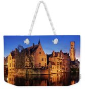 Bruges Architecture At Blue Hour Weekender Tote Bag by Barry O Carroll