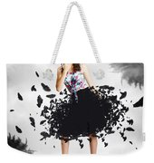 Brunette Pin-up Woman In Gorgeous Feather Skirt Weekender Tote Bag
