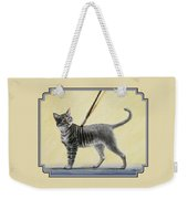 Brushing The Cat - No. 2 Weekender Tote Bag by Crista Forest