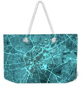 Brussels Traffic Abstract Blue Map And Cyan Weekender Tote Bag