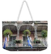 Bubbles Blow From An Ornate Balcony In New Orleans At Mardi Gras Weekender Tote Bag