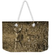 Buck And Doe In Sepia Weekender Tote Bag
