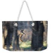 Buck Running Thru The Woods Weekender Tote Bag