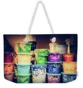 Buckets Of Liquid Paint Standing In A Workshop. Weekender Tote Bag