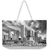 Buckingham Fountain Skyscrapers Black And White Weekender Tote Bag