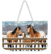 Buckskin Appaloosa Horses In Snow Weekender Tote Bag by Crista Forest