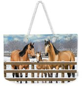 Buckskin Quarter Horses In Snow Weekender Tote Bag by Crista Forest