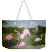 Buddah And The Flamingos Weekender Tote Bag
