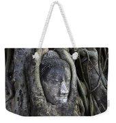 Buddha Head In Tree Weekender Tote Bag by Adrian Evans