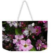 Buds And Petals- Pink Roses- Rose Bush- Floral Art Weekender Tote Bag