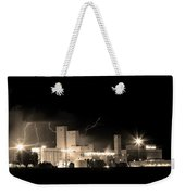 Budwesier Brewery Lightning Thunderstorm Image 3918  Bw Sepia Im Weekender Tote Bag by James BO  Insogna