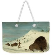 Buffalo Lancing In The Snow Drifts. Sioux Weekender Tote Bag