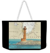 Buffington Harbor Lighthouse In Nautical Chart Map Weekender Tote Bag