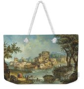Buildings And Figures Near A River With Rapids Weekender Tote Bag