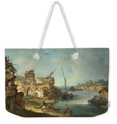 Buildings And Figures Near A River With Shipping Weekender Tote Bag