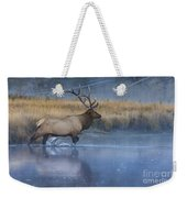 Bull Elk Crossing The Madison River Weekender Tote Bag