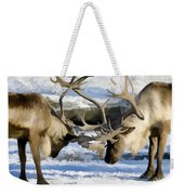 Bull Elk Fighting  Weekender Tote Bag