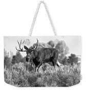 Bull On A Blue Sky Day Black And White Weekender Tote Bag