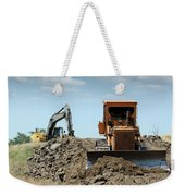 Bulldozer And Excavator On Road Construction Weekender Tote Bag