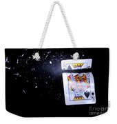Bullet Hitting A Playing Card Weekender Tote Bag