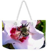 Bumble Bee Making His Escape From Hibiscus Flower Weekender Tote Bag