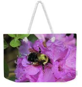 Bumble Bee On Rhododendron Blossoms Weekender Tote Bag