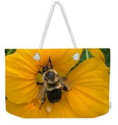 Bumble Bee On Yellow Nasturtium Weekender Tote Bag