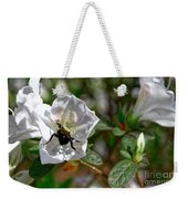 Bumblebee On White Azalea Weekender Tote Bag