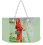 Bundled And Barefoot -- Portrait Of Old Asian Woman Outdoors Weekender Tote Bag