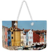 Burano An Island Of Multi Colored Homes On Canals North Of Venice Italy Weekender Tote Bag