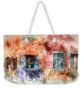 Burano Italy Digital Watercolor On Photograph Weekender Tote Bag