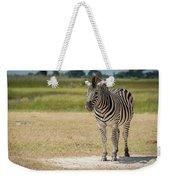 Burchell's Zebra On Grassy Plain Facing Camera Weekender Tote Bag