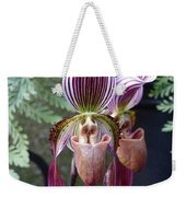 Burgundy Orchids With Stripes Weekender Tote Bag