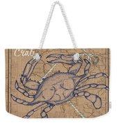 Burlap Blue Crab Weekender Tote Bag
