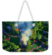 Burnin Down The House Aerial Single Family Home On Fire  Weekender Tote Bag