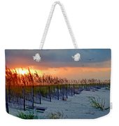 Burning Grasses And The Fence Weekender Tote Bag