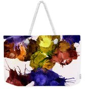 Bursting Comets 2017 - Yellow And Purple On White Weekender Tote Bag