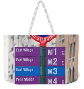 Bus Stop Sign In New York City Weekender Tote Bag
