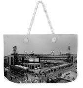 Busch Stadium From The East Garage Black And White Weekender Tote Bag