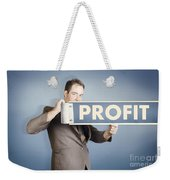Business Man Holding Financial Profit Street Sign Weekender Tote Bag