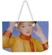 Bust Of A Woman Yellow Dress Weekender Tote Bag