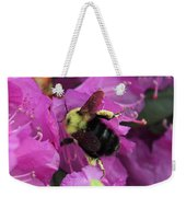 Busy Bee Collecting Pollen On Rhododendron  Weekender Tote Bag