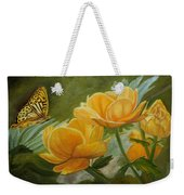 Butterfly Among Yellow Flowers Weekender Tote Bag